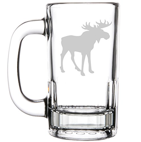 12oz Beer Mug Stein Glass Moose by