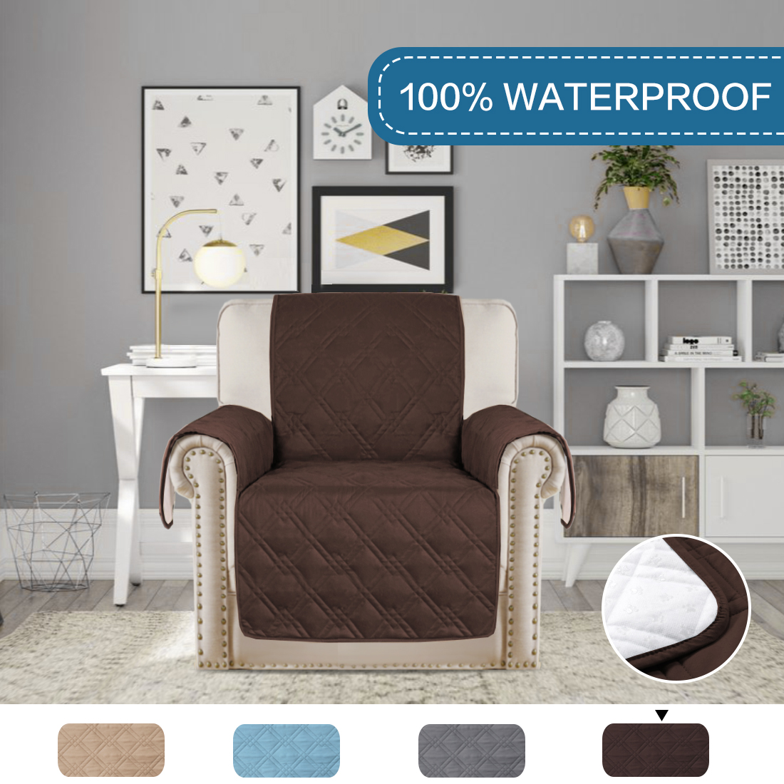 Quilted Quick Drape 100 Waterproof Furniture Cover Non Slip Sofa