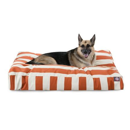 Majestic Pet Vertical Stripe Rectangle Dog Bed Treated Polyester Removable Cover Burnt Orange Extra Large 50u0022 x 42u0022 x 5u0022