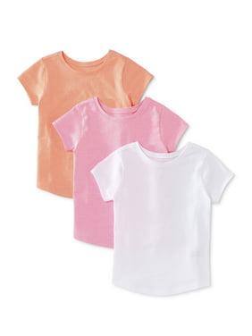 Garanimals Baby Girls & Toddler Girls Solid T-shirts, 3-pack (12M-5T)