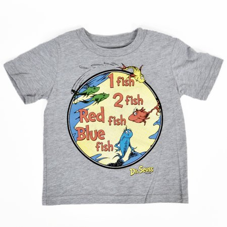 Dr seuss toddlers 1 fish 2 fish gray t shirt size 18 for Fishing shirt of the month