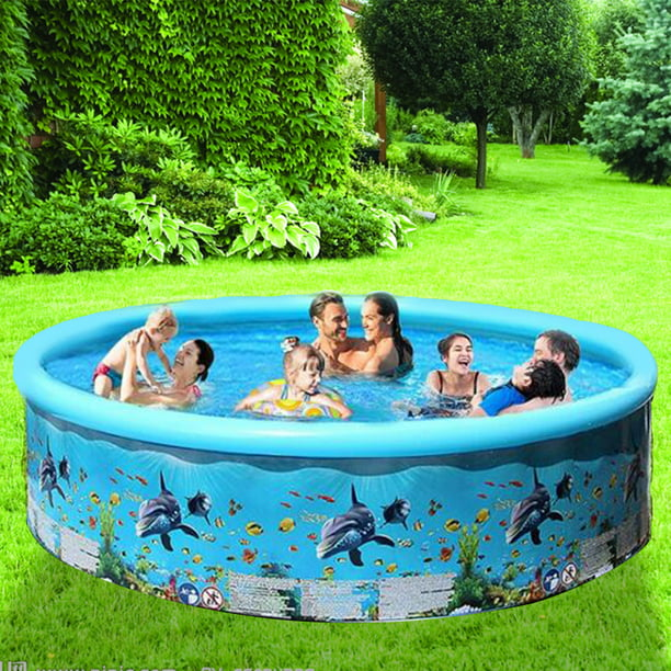 Swimming Pools For Kids And Adults Inflatable Swimming Pool For Kids Large Family Size Blow Up Pool For Outdoor Water Fun Walmart Com Walmart Com