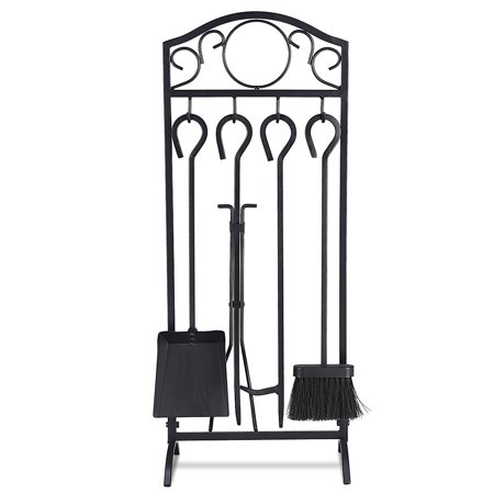 Costway 5 Pieces Fireplace Tools Set 4 Tools & Decor Holder Wrought Iron Fireplaces ()