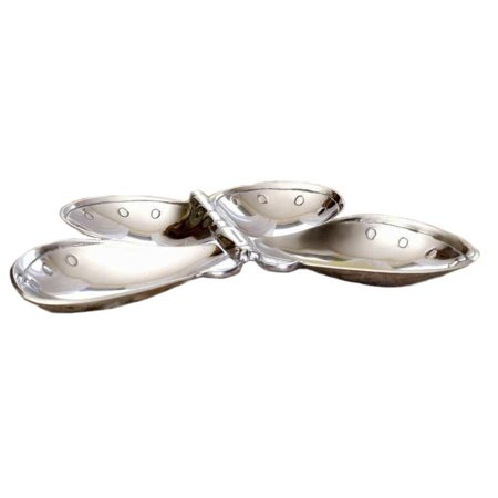 India Handicraft Butterfly Aluminum Two Section Serving Dish #7267 11