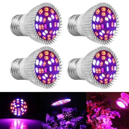 - 4-pack 28W Full Spectrum E26 E27 LEDs Grow Light Bulbs for Hydroponics Greenhouse Organic Indoor Plants,28 SMD5730 LEDs(15 Red +7 Blue +2 Warm White  +2 White +1 Infrared  +1 UV)