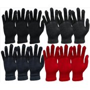 Yacht&Smith 12 Pairs Winter Gloves, Assorted Solid Colors, Warm Acrylic, Mens or Womens (Womens)