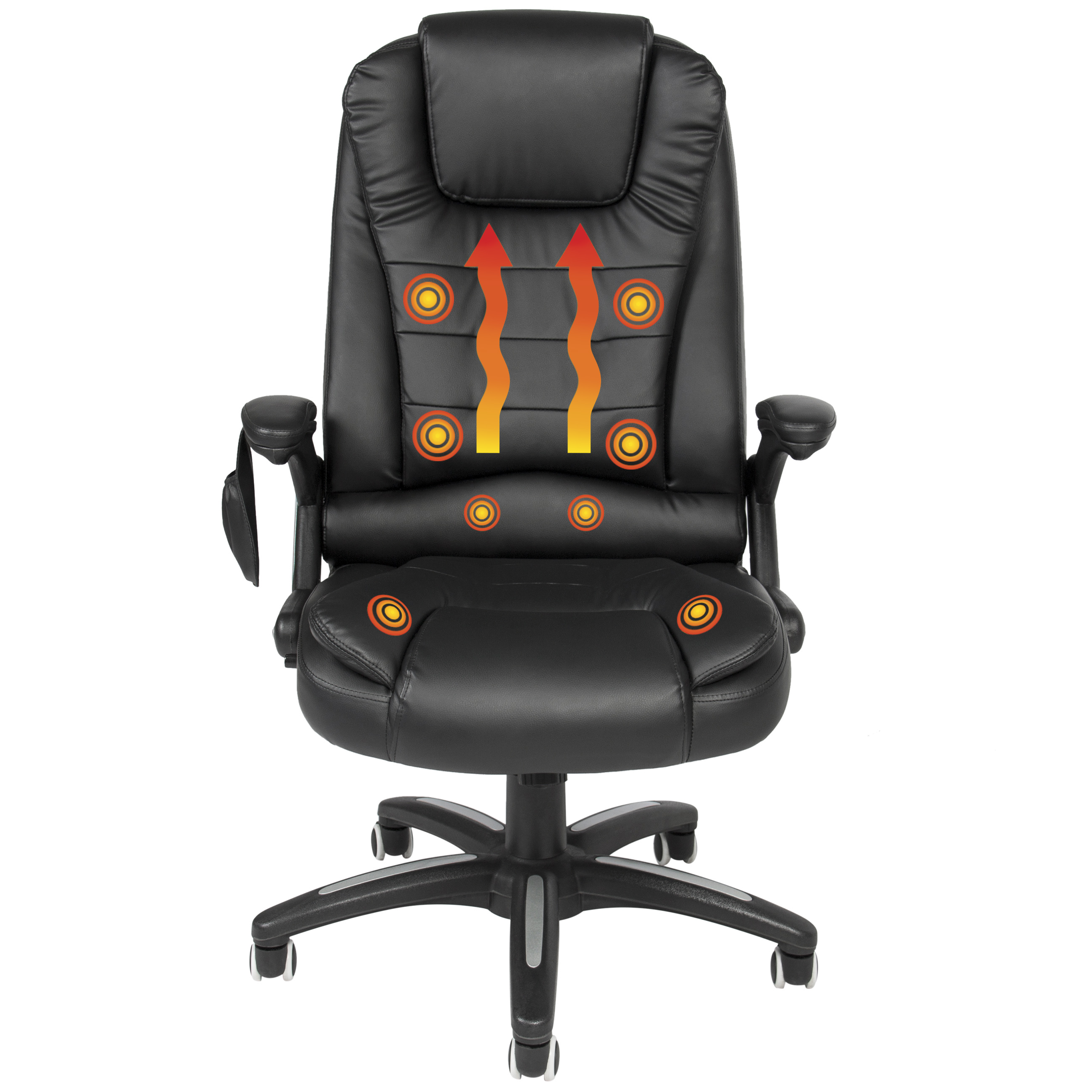 Executive Ergonomic Heated Vibrating Computer Office Massage Chair Black