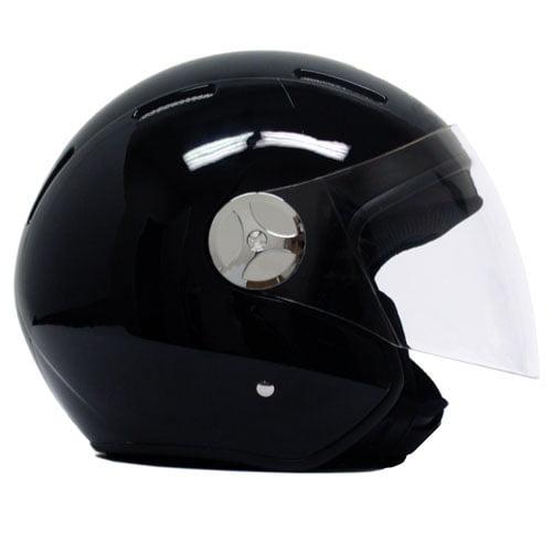 Motorcycle Open Face Helmet Jet Pilot - MMG - DOT Approved - Gloss Flat Black (XXL)