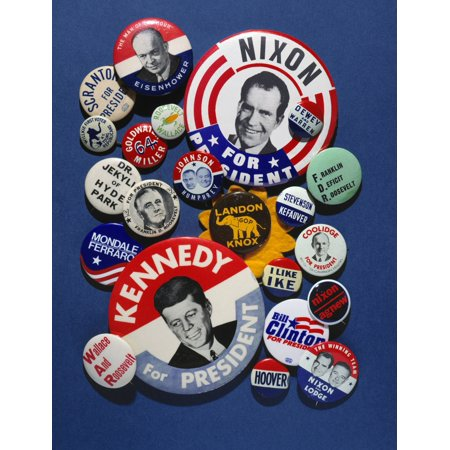 Campaign Buttons Nan Assortment Of Buttons From 20Th Century American Presidential Campaigns Rolled Canvas Art -  (24 x - Campaign Button