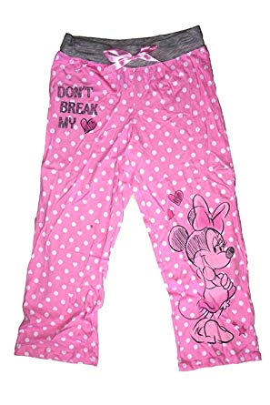 [P] Disney Juniors' Minnie Mouse Don't Break My Heart Capri Pajama Pants - Pink (SM)