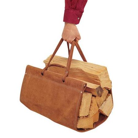 Brown Suede Sling Wood Carrier with Two Handles