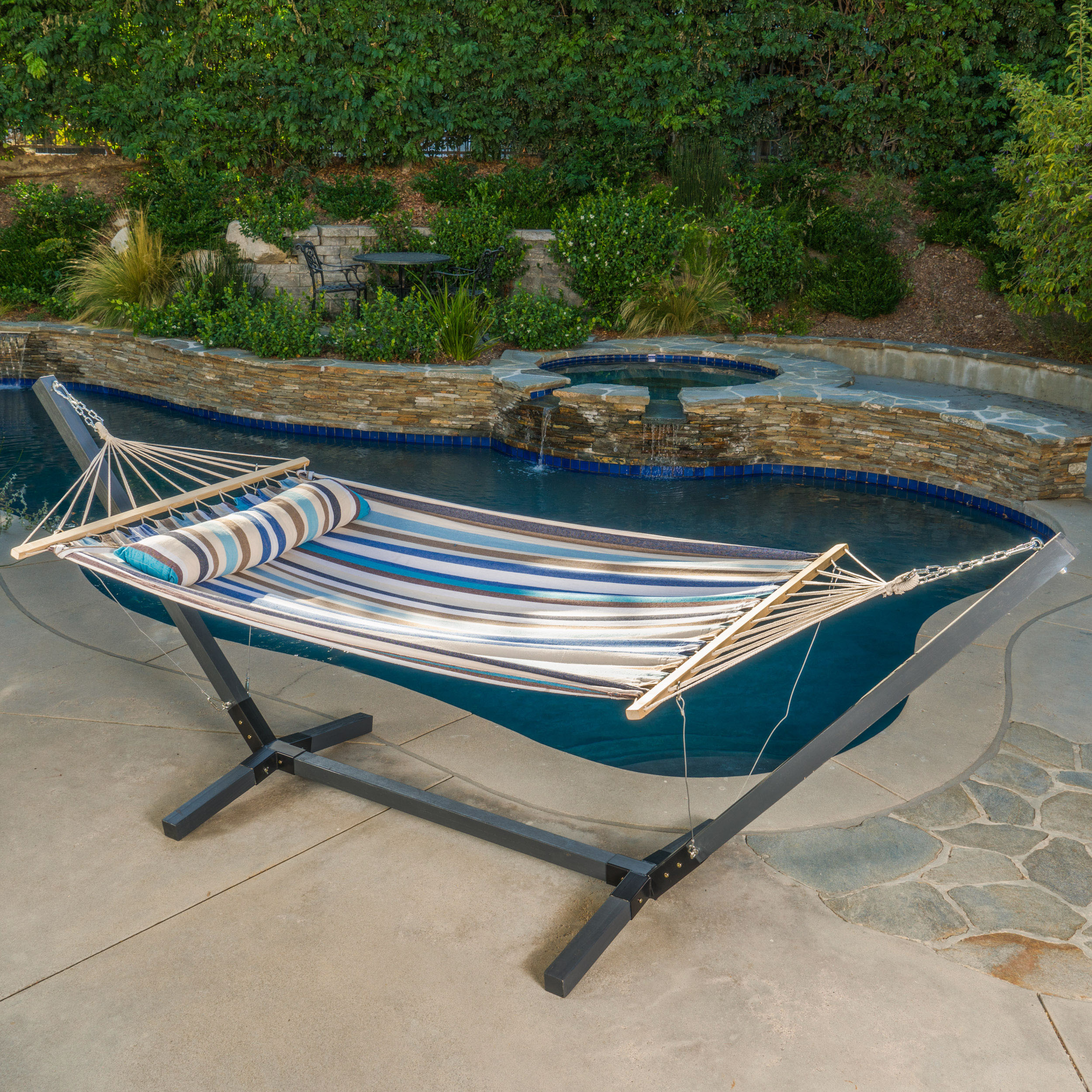 Amelia Outdoor Water Resistant Hammock with Grey Larch Wood Frame, Brown, Blue, White Striped