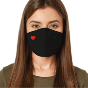 Fashion Washable Reusable Soft Double Layers Cotton Face Covering Mask Adults Red Heart - Made In USA