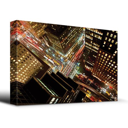 wall26 Eagle Eye view of 42nd street in New York City - Canvas Art Home Decor - 12x18