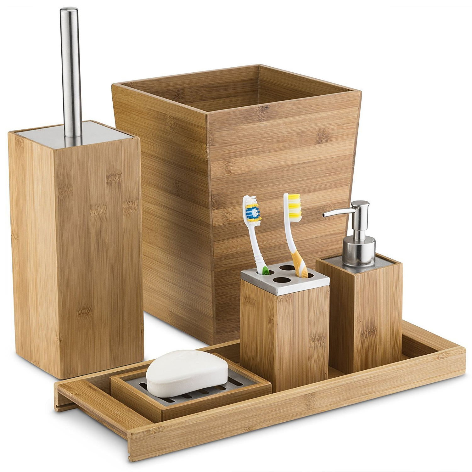 Bamboo 6 Piece Bath Accessory Collection by HDS TRADING CORP