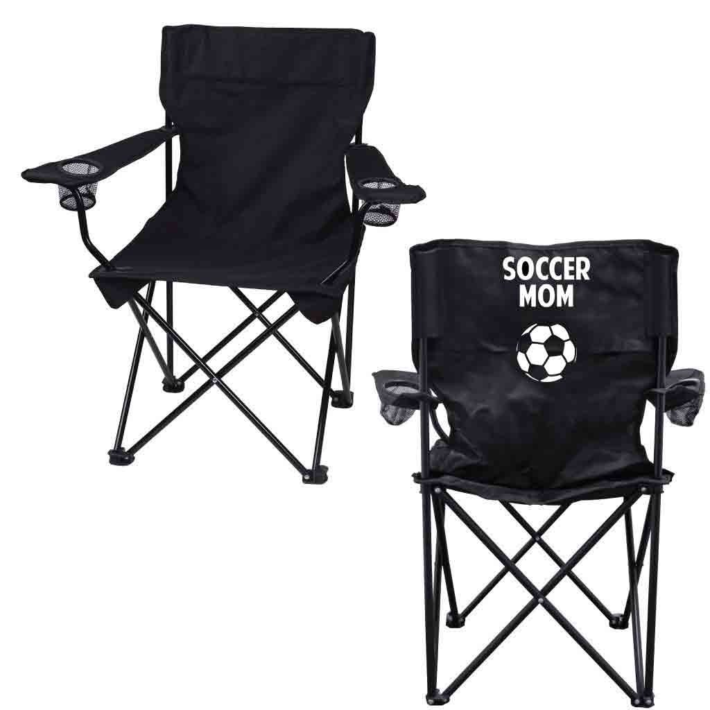 Soccer Mom Black Folding Camping Chair with Carry Bag