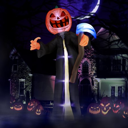 Weather Channel Halloween (Holidayana 10 ft Pumpkin Reaper with Scythe Airblown Halloween Inflatables, Giant Spooky Weather Resistant Inflatable Decor with LED Lights, Built-in Fan, and)