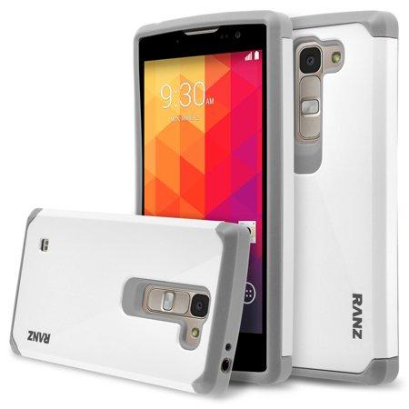 Att Logo (LG Escape 2 Case, RANZ Grey With White Hard Impact Dual Layer Shockproof Bumper Case For LG Escape 2 (AT&T)/ LG Logos (US Cellular)/ LG Spirit (Metro PCS))