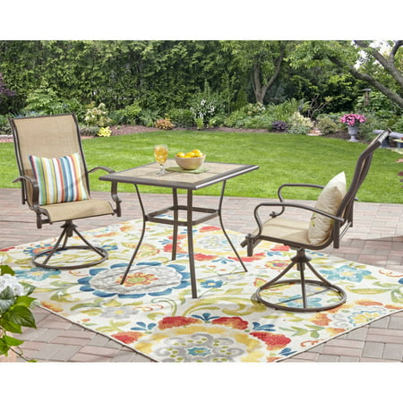 Mainstays Wesley Creek 3-Piece Outdoor Bistro Set with Swivel Chairs ()