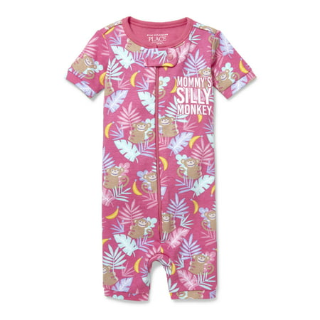 Baby And Toddler Girls 'Mommy's Silly Monkey' Jungle Printed Snug-Fit PJ Stretchy (Baby and Toddler Girl) - Matching Mommy And Baby Pajamas
