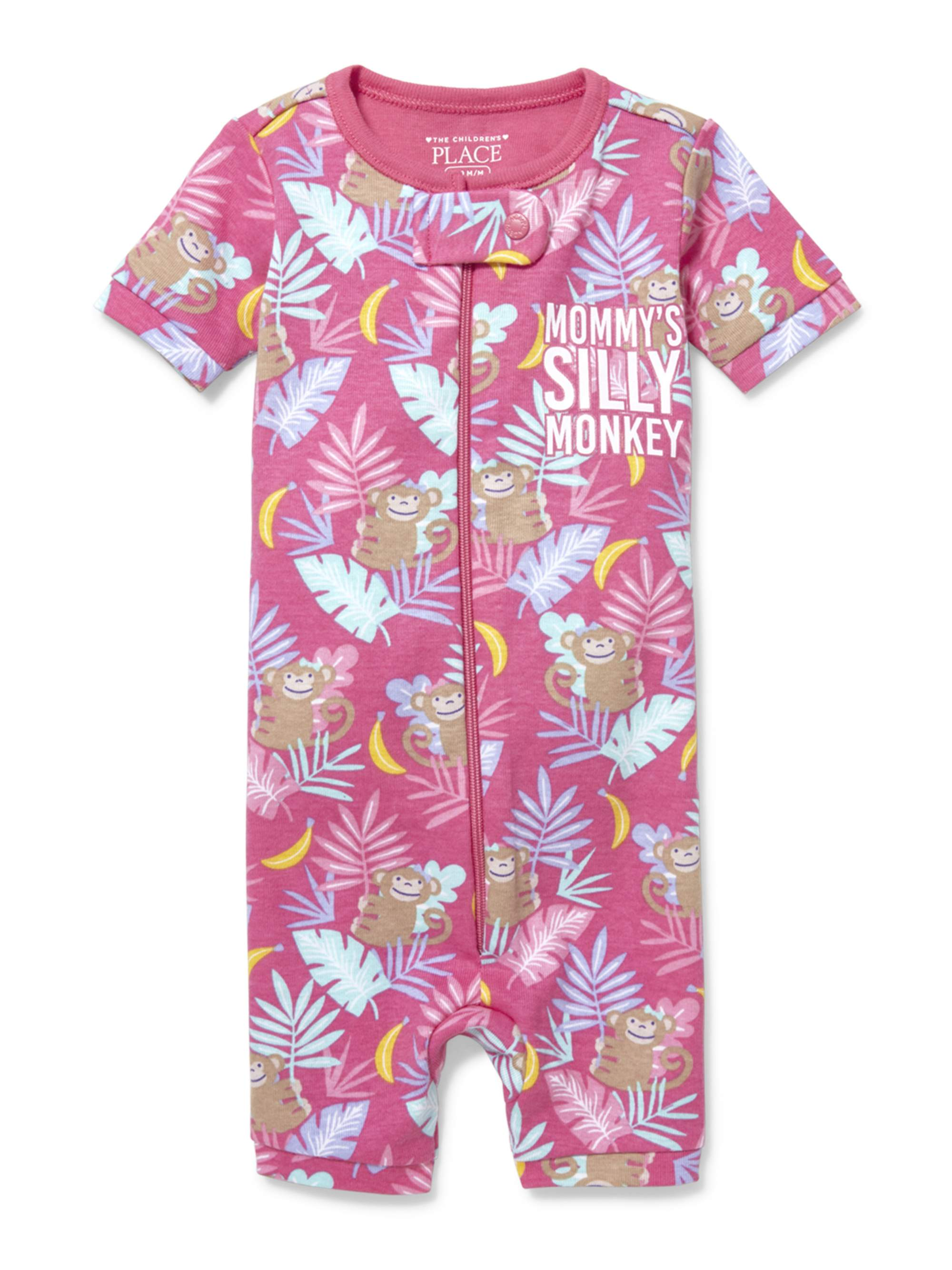 Baby And Toddler Girls 'Mommy's Silly Monkey' Jungle Printed Snug-Fit PJ Stretchy (Baby and Toddler Girl)