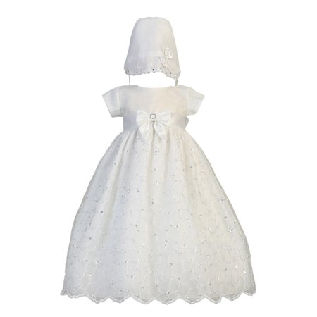Baby Girls White Sequin Embroidered Organza Gown Christening Set