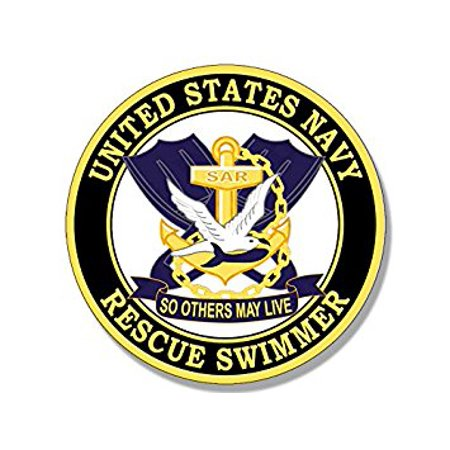 Emergency Rescue Decal (Round Navy RESCUE SWIMMER So Others May Live Sticker Decal (naval air logo) 4 x 4 inch )