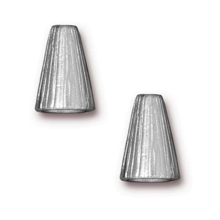 Rhodium Plated Pewter Etched Tall Cone Strand Reducer Beads 12.5mm (2)