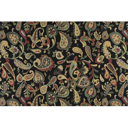 Designer Fabrics K0021C 54 in. Wide Red, Orange, Yellow, Green And Black, Floral Paisley Contemporary Upholstery -