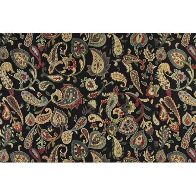 Designer Fabrics K0021C 54 in. Wide Red, Orange, Yellow, Green And Black, Floral Paisley Contemporary Upholstery Fabric