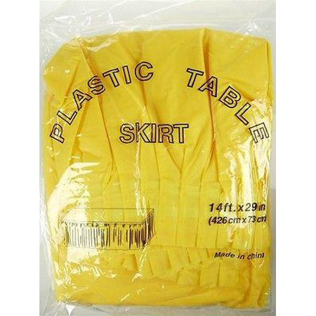 18638f598 Plastic Table Skirt Adhesive Pleated, 29-Inch x 14-feet, Yellow -  Walmart.com