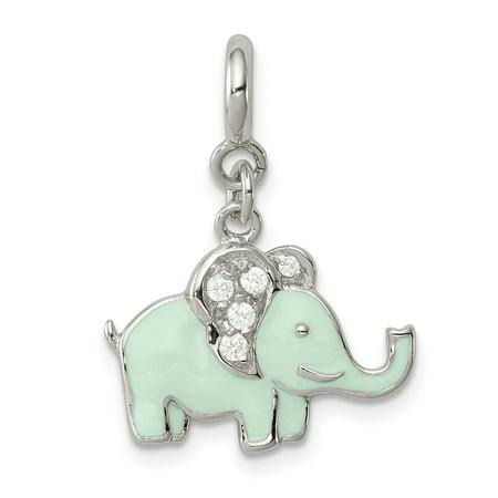 925 Sterling Silver Enameled Cubic Zirconia Cz Elephant Pendant Charm Necklace Animal Elephant Animal Charm Pendant