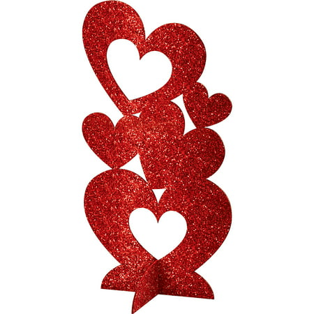 Holiday Party Supplies Amscan Radiant Valentines Day 3D Glitter Hearts Centerpiece (Valentine Supply)