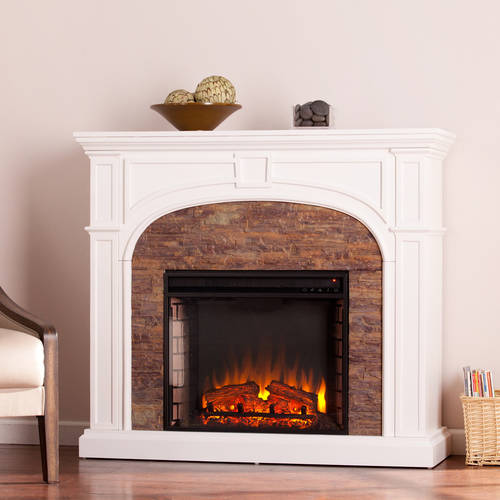Lambert Electric Fireplace with Faux Stone, White
