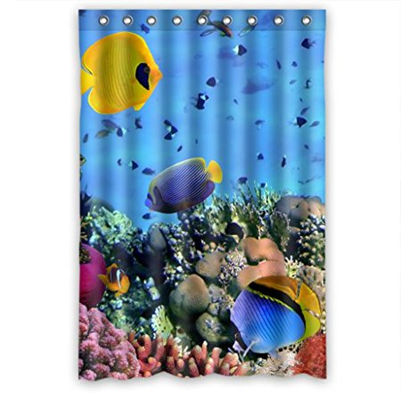 HelloDecor UnderSea World Colorful Fish Coral Clear Water Shower Curtain Polyester Fabric Bathroom Decorative Curtain Size 48x72 Inches ()