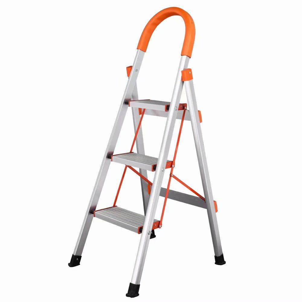 Akoyovwerve Non-slip 3 Step Aluminum Ladder Folding Platform Stool 330 lbs Load Capacity