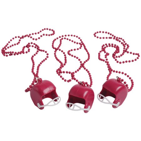 (Price/Dozen)US TOY KD30-17 Maroon Bead Necklaces With Football Helmets - Football Bead Necklaces