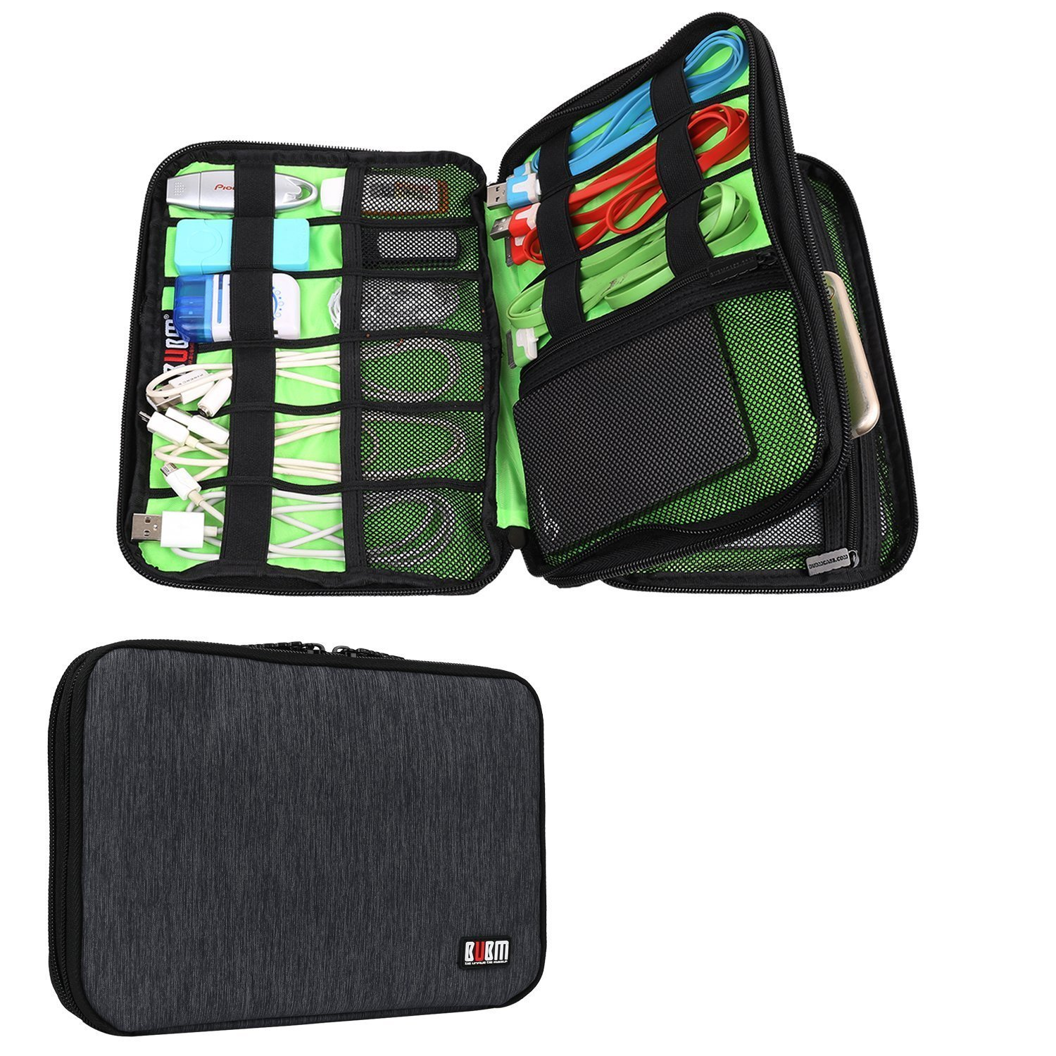 Universal Electronics Accessories Case Various USB, Phone, Charger, Cable Organizer Travel Organizer Cosmetic Bag- Double Layer, Black
