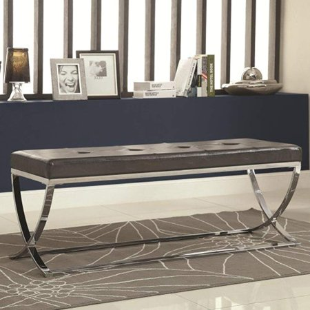 Contemporary Black And Chrome Bench Walmart Com