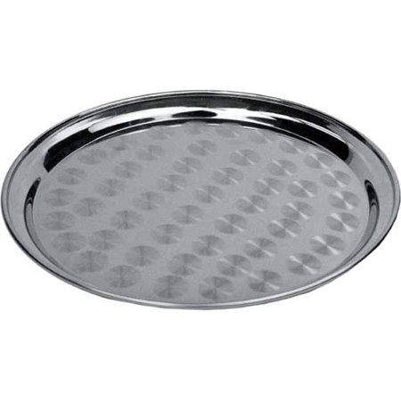 Winware by Winco Round Tray, Stainless Steel, Swirl Design 14""