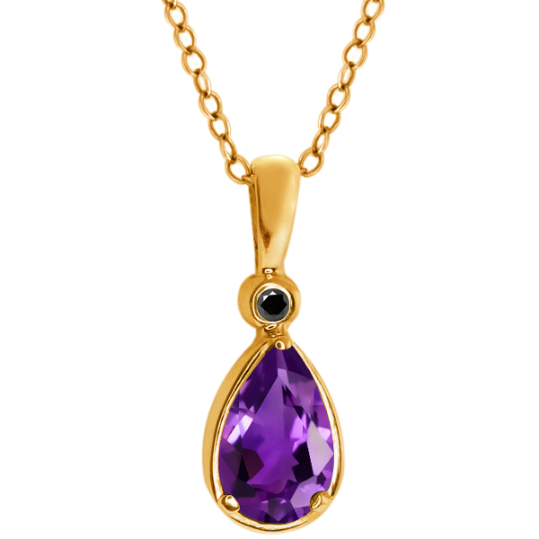 1.01 Ct Pear Shape Purple Amethyst Black Diamond 14K Yellow Gold Pendant