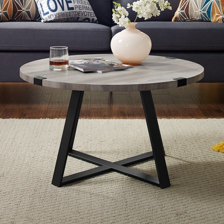 Manor Park Rustic Round Wood And Metal Coffee Table Grey Wash