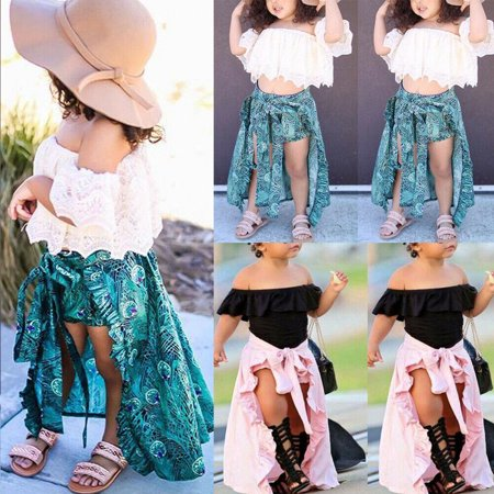 3Pcs Summer Girl Baby Kids Clothes Off-shoulder Solid Ruffles T-shirt Top Shorts Princess Belt Skirt Party