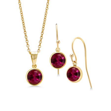 3.00 Ct Round Red Created Ruby 14K Gold Filled Pendant Earrings Set With Chain