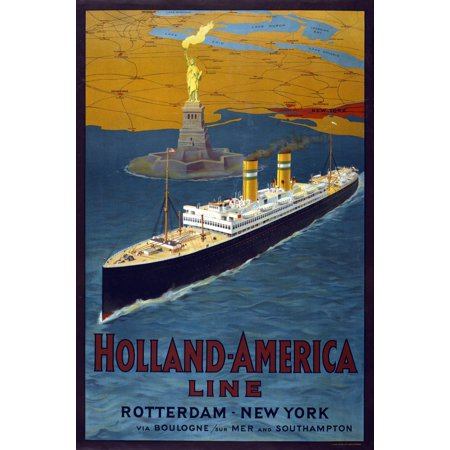 Holland America Line Vintage Travel Rotterdam New York Poster Print