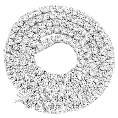 Hip Hop Mens 18K 5MM White Gold Finish 1 Row Lab Diamond Tennis Link Chocker Necklace - 18 -
