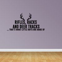 Hunting Decor Deer Antlers What Little Boys Are Made Of Nursery Wall Decal JP266