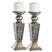 Schonwerk Pillar Candle Holder Set of 2- Crackled Mosaic Design- Home Coffee Table Decor Decorations Centerpiece for Dining/Living Room- Best Wedding Gift (Silver)