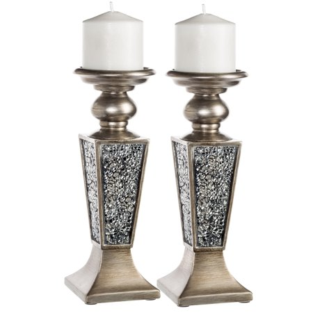 Schonwerk Pillar Candle Holder Set of 2- Crackled Mosaic Design- Home Coffee Table Decor Decorations Centerpiece for Dining/Living Room- Best Wedding Gift