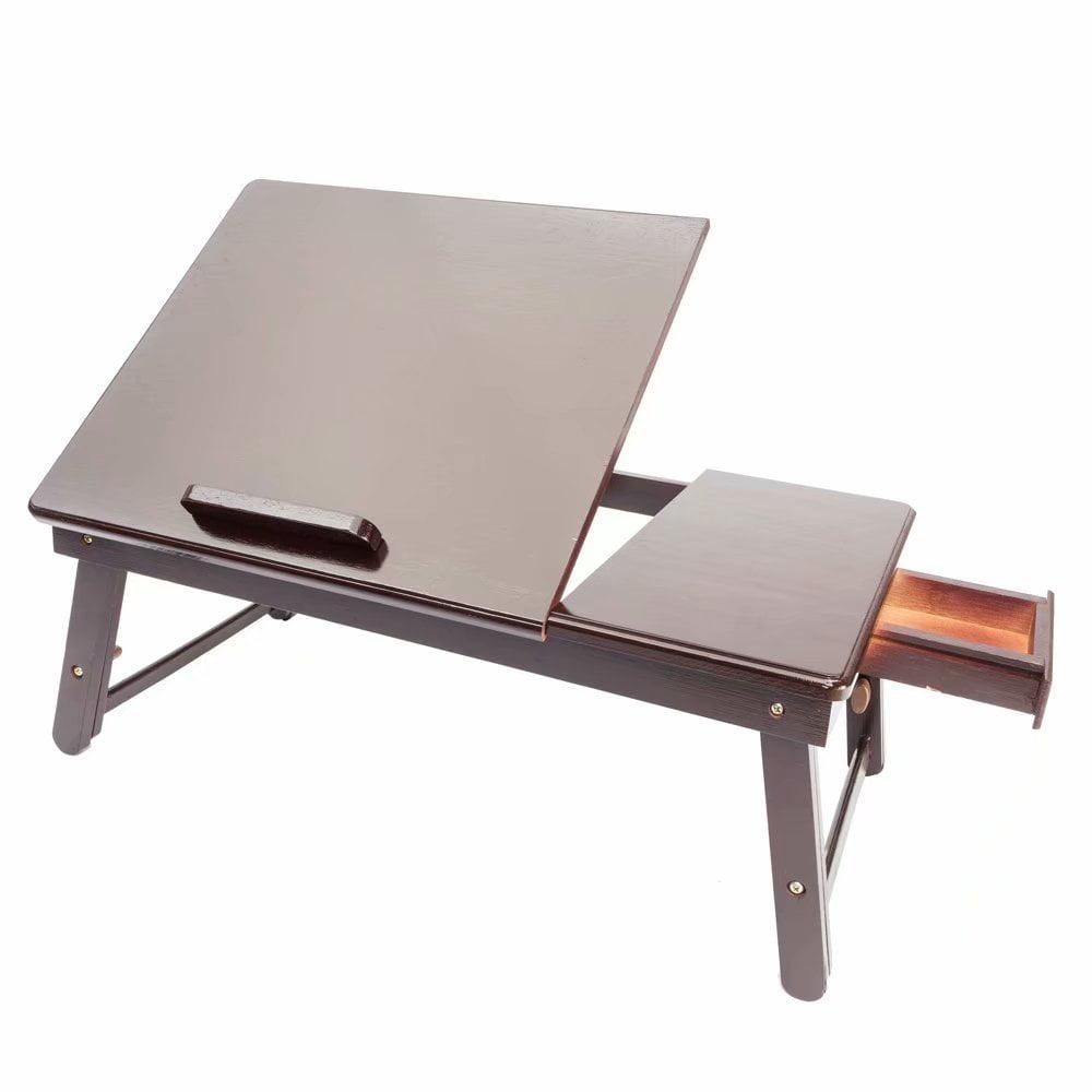 Akoyovwerve Retro Plain Design Adjustable Bamboo Lap Desk Tray Dark Coffee by